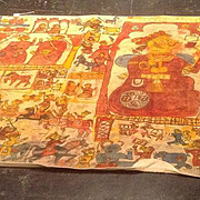 Amazing Indian phat. Very large wall hanging , hand painted, naive art.