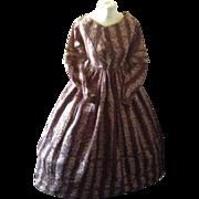 SOLD Circa 1840 ladies fine wool dress in super condition. English block print.