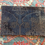 15 th century silk velvet fragment. Very rare.