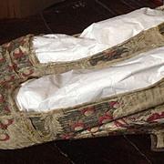 SALE PENDING 18 th century ladies silk shoes. English. Beautiful silk brocade.