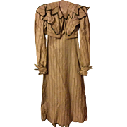 SOLD Regency silk dress. Ladies. Early 19 th century. Cream silk with green pattern . Dress an
