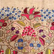 19 th century Ottoman,Turkish embroidered panel. Metallic thread in linen.