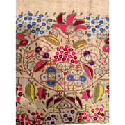 19 th century Ottoman,Turkish embroidered panel. Metallic thread in linen.