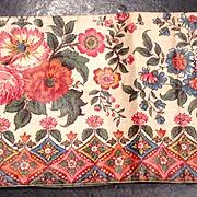 Early 19 th century glazed cotton chintz border. English.