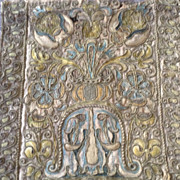 SALE 17th century Italian hand embroidered and couched panel.