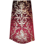 Lyon silk panel. 19th century . Perfect . Beautiful rich red. Gardening .