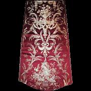 Lyon silk panel. 19th century . Perfect . Beautiful rich red. Gardening .