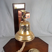 Mounted Ships Bell from the P&O Liner RMS Canton / WW2 Armed Cruiser &amp ...
