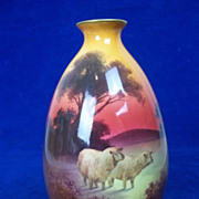 Rare Royal Doulton Small Vase With Sheep in a Landscape, c.1910