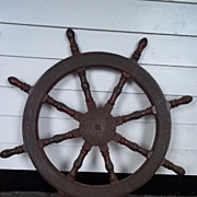 Vintage Ships Wheel From A Chinese Junk #7