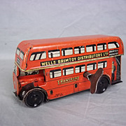 Tinplate Clockwork #2 Wells Brimtoy Pocketoy Double Decker Bus No. 517