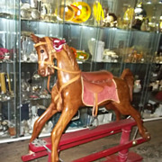 Full Size Mahogany Rocking Horse on Swing Stand