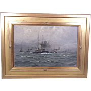 Ch. Benjamin Olsen (1873-1935) 'Danish Warships Exercising Off Aarhus', Signed