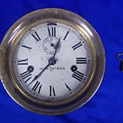 Brass Bulkhead Clock by Seth Thomas, Double Barrel Movement