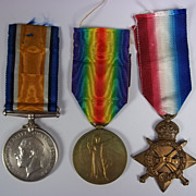 WW1 1914/15 Medal Trio Awarded to PTE.J.Lynch Royal Fusiliers