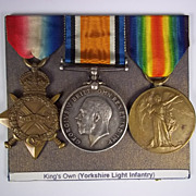 WW1 Medal Trio Awarded to PTE.F.Thirkell. Yorkshire Light Infantry