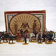 Circa 1900 M F Ltd. French Artillery 1815. Vintage Tin/Lead Flat Soldiers.