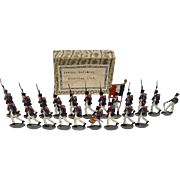 """c1900/20 """"French Infantry Storming 1814"""" Vintage Tin Flats 21 Pieces. Boxed"""