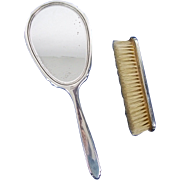 Silver Hand Mirror and Brush - Birmingham 1960