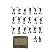 c1900/20 French Infantry Marching 1814 Vintage Tin Flats 20 Pieces. Boxed