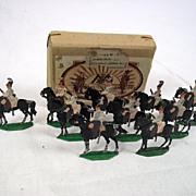 Circa 1900 M F Ltd. Russian Cuirassiers 1815. Vintage Tin/Lead Flat Soldiers.