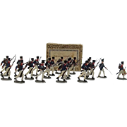 """c1900/20 """"French Infantry Fighting 1815"""" Vintage Tin Flats 20 Pieces. Boxed"""