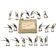"""c1900/20 """"French Infantry Storm"""" Vintage Tin Flats 19 Pieces. Boxed"""