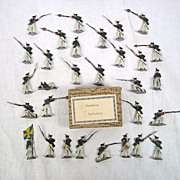 c1900/20 Russian Infantry Vintage Tin Flats 30 Pieces. Boxed