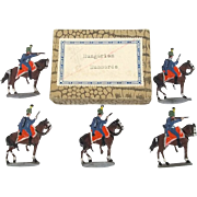 c1900/20 Hungarian Hussars Vintage Tin Flats 5 Pieces. Boxed