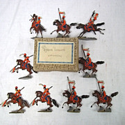 """c1900/20 """"French Lancers Attacking"""" Vintage Tin Flats 9 Pieces. Boxed"""