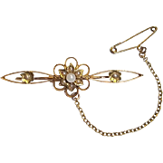 Victorian 15 Ct Gold Seed Pearl Bar Brooch, 2.8 g