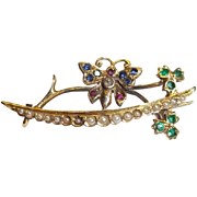 18ct Gold Butterfly Brooch With Sapphires, Rubys, Diamonds & Emeralds