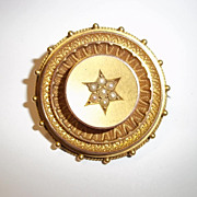 Victorian 9 Ct Gold Engraved Circular Seed Pearl Brooch, Chester 1885