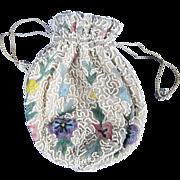 Edwardian c1910 Beadwork Ladies Drawstring Purse/Pouch Hand Made in Belgium