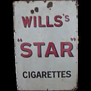 Wills's Star Cigarettes Enamel On Steel Advertising Sign Circa 1910