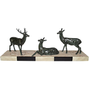 A 1930's Art Deco Spelter Model Of A Red Deer Stag & Two Does On Marble Base