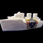 Arcadian Crested China Model Of A Battleship, Borough Of Reading