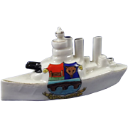 Arcadian Crested China Model Of A Battleship, Stocksbridge