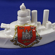 Arcadian Crested China Model Of A Battleship, Stafford