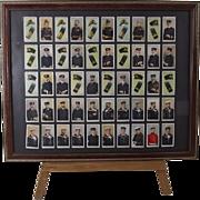 """Full Framed Set Of 50 Original Wills's Cigarettes """"Naval Dress & Badges"""" Cigarette C"""