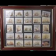 """Full Framed Set Of Original Player's Cigarettes """"Old Naval Prints"""" 20 Cigarette Card"""