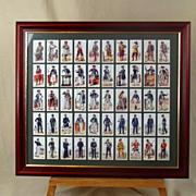 "Framed Full Set Of Original Carreras's Cigarettes ""History of Naval Uniforms"" 50 Cig"