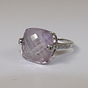 18 ct White Gold 10.10 ct Amethyst & 0.11 CTW Diamond Checkerboard Cushion Ring ...