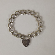 Vintage Sterling Silver Textured Curb Link Heart Padlock Bracelet, London 1968, 35 g