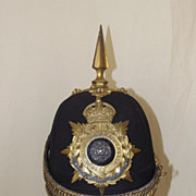 Edwardian York and Lancaster Regiment Officer's Spiked Black Cloth Helmet