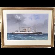 Late 19th Century Italian Maritime School Gouache of HMS Vulcan