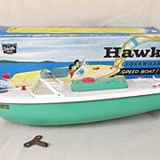 Vintage  Sutcliffe Hawk Clockwork Speed Boat, Boxed