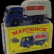 Vintage Matchbox Lesney No 15 Tippax Refuse Truck, Boxed