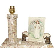 An Art Deco Marble Desk Lamp With Picture Frame