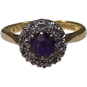 1971 Vintage 18 Ct Gold 0.5 CTW Amethyst & 0.08 CTW Diamond Flower Shape ...